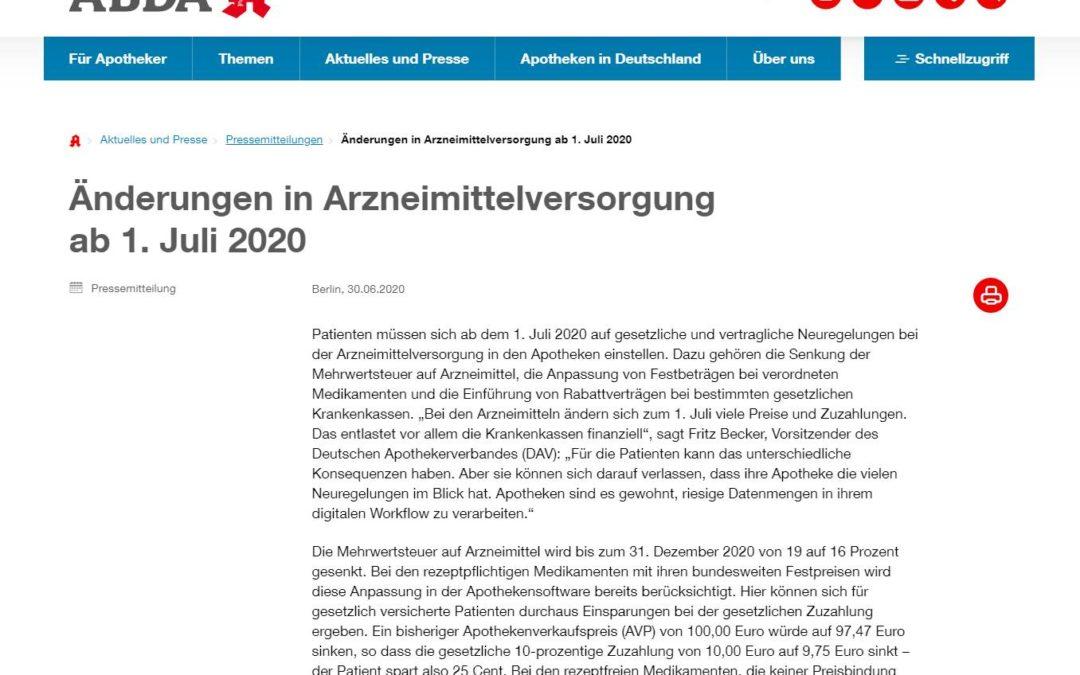 ABDA: Änderungen in Arzneimittelversorgung ab 1. Juli 2020